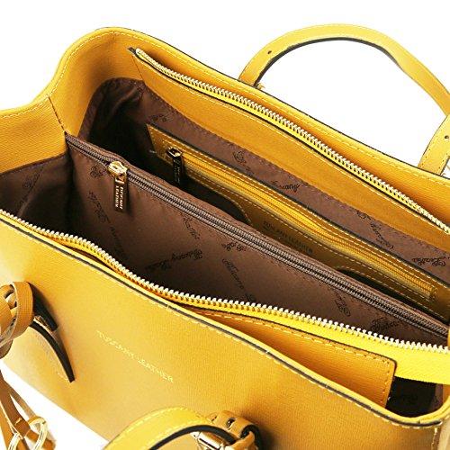 Tuscany Leather TL Bag - Sac à épaule en cuir Saffiano - TL141518 (Bleu) Jaune