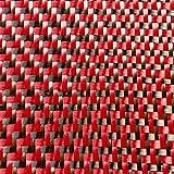 CARBON Fibre Cloth Red KEVLAR Fabric 2x2 DUAL Twill 50'' x 11''