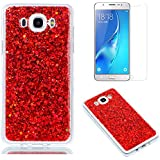 Funda para Samsung Galaxy J7 2016 de Silicona y Protector de Pantalla ,OYIME Carcasa Purpurina Brillante Original Resistente Fina Suave Transparente TPU Gel Protección para Galaxy J7 2016 Modelo SM-J710 - Rojo