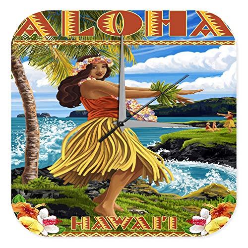 LEotiE SINCE 2004 Wanduhr mit geräuschlosem Uhrwerk Dekouhr Küchenuhr Baduhr Welt Reise Aloha Hawaii Acryl Wand Deko Uhr Retro