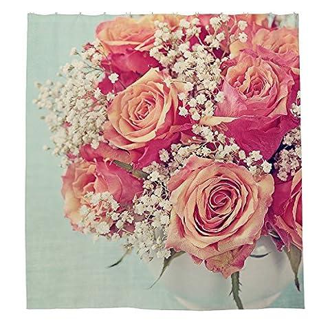 whiangfsoo Retro Kunstdruck Blume Badezimmer Decor Polyester Stoff Duschvorhang Liner
