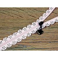 F J Fusion Fancy Lace Reißverschluss mit Antik Messing Abzieher 30cm Pink–Pro Zip