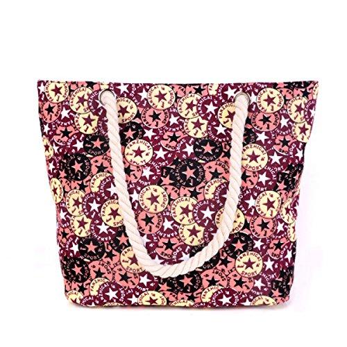 Stampa Canvas Shopping Bag Moda Vacanze Beach Bag Borsa A Tracolla Delle Donne C