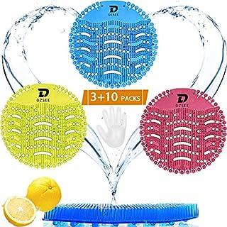 UrinalSieb, 3 Pcs Urinal Matte mit 10 Paar Einmalhandschuhe, Urinal Sieb mit Duft, Duft Baumwollblüte, Spritzschutz, für jedes Pissoir, Urinal, Geruch und Lufterfrischer