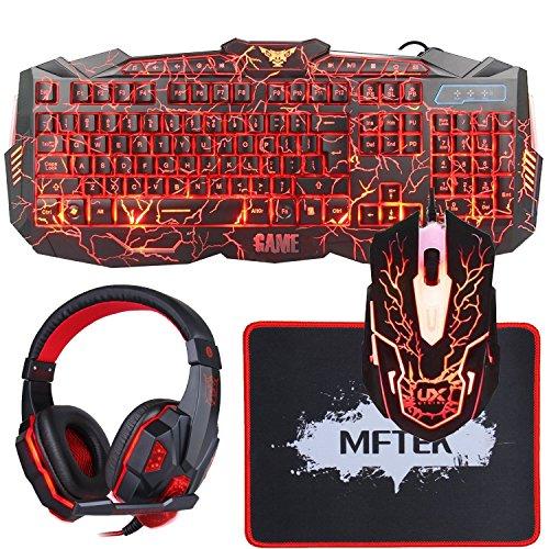 Gaming Tastatur, MFTEK USB LED Verdrahtet Hinterleuchtet Rot/ Blau/ Lila QWERTY US-Layout Tastaturen mit 6 Tasten Gaming Maus und Rot Kopfhörer für PC Gamer, Maus-Pad Enthalten