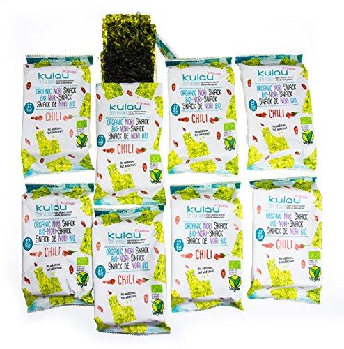 Preisvergleich Produktbild KULAU Bio-Nori-Snack Chili - scharfer Snack aus gerösteten Nori-Blättern / Asiasnack / zart,  knusprig und pikant (8 x 4 g)