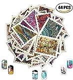 Autocollants pour ongles AIUIN couleurs mélangées 3D conçoivent pointe autocollant Pour Ongles Nail Outils Artistiques Bricolage (44pcs Motif de timbre)...