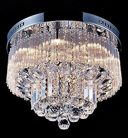 Saint Mossi Modern K9 Crystal Raindrop Chandelier Lighting Flush mount LED Ceiling Light Fixture Pendant Lamp for Dining Room Bathroom Bedroom Livingroom Width 45.7 x Height 30.5