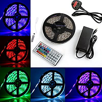 BMOUO RGB LED Strip Lights Kit - 16.4ft / 5M Flexible Waterproof 5050 RGB LED Rope lighting With 44key Controller and DC 12V5A Power Adapter Built-in IC and Fuse by BMOUO®