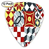 Vintage Classic Heraldic Royal Family Icons In Ancient Distressed Motley Design Guitar Picks 12/Pack Set