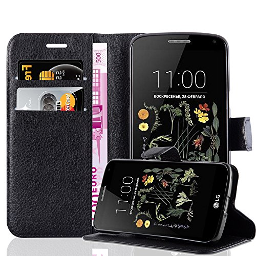 Cadorabo Hülle für LG K5 2016 - Hülle in Phantom SCHWARZ – Handyhülle mit Kartenfach und Standfunktion - Case Cover Schutzhülle Etui Tasche Book Klapp Style