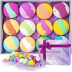 Coffret cadeau de boules de bain, kit de boules de bain multicolores végétales avec des huiles essentielles pour les enfants et les adolescents, bulles pétillantes flottantes uniques, Paquet de 12.