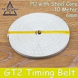 Generic PU with Steel Core GT2 Belt 2GT Timing Belt Width 6mm 10M for 3D printer parts Anti-wear Reinforce Open Belt