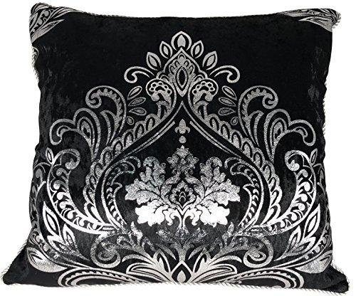 HYSENM Kissenbezüge Samt Luxus Elegant Glatt Atmungsaktiv Hautfreundlich mit Reißverschluss Kissenhülle für Sofakissen Dekokissen Autokissen Zierkissen Pillow Case, Schwarz 45x45cm