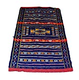 moroccanity Beni ourain blau mit rot und gelb Designs–handgewebte Kelim Wolle Joppe Berber Teppich, handgefertigt, 1,30x 0,80Meter