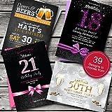 Personalisierte Einladungskarten zum Geburtstag/Party lädt von 39tolle Designs • 18. 21. 30. 40. 50.–jedes Alter Kreativität. Alle Formulierungen und Farben. Kostenloser Versand und Briefumschläge