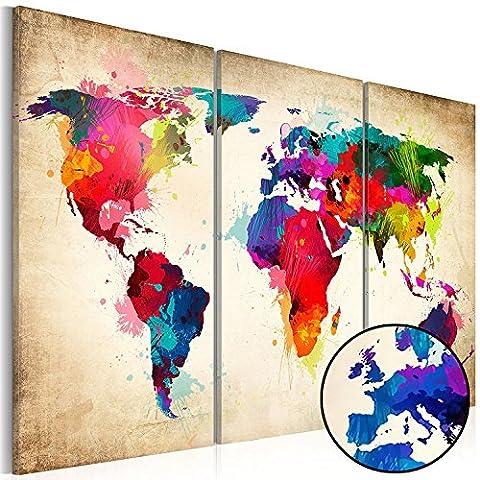 Peinture murale cadre affiche murale Carte du monde - 3 Pièces - De la peinture de toile moderne - Carte 120x80 cm mondial