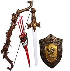 HALO NATION® Bahubali Weapon Set - Knights Kids Cosplay Fancy Dress - Kings Sword, Sheild, Bow & 3 Arrows