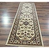 Extra grande clásico estilo persa Oriental tradicional Floral alfombra/alfombrilla, Beige–67x 300cm