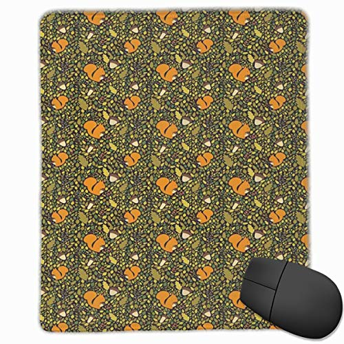 Mouse Mat Stitched Edges, Fallen Autumn Leaves Concept With Squirrels And Acorn Figures In Peaceful Nature,Gaming Mouse Pad Non-Slip Rubber Base Apple-maden-falle