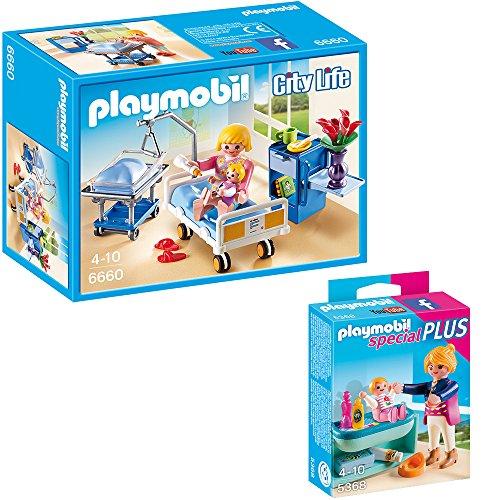PLAYMOBIL-City-Life-Die-freundliche-Kinderklinik-2-tlg-Set-6660-5368-Krankenzimmer-mit-Babybett-Mutter-mit-Baby-Wickeltisch