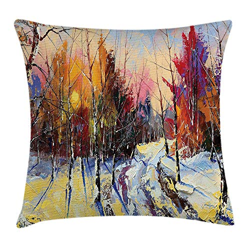 BUZRL Country Throw Pillow Cushion Cover, Pastel Color Paint of Sunset in Old Town Winter Pastoral Countryside Landscape, Decorative Square Accent Pillow Case, 18 X 18 inches, Multicolor