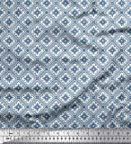 Soimoi Blau Seide Stoff Blumen & geometrische ethnisch