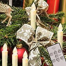 TRESKO® 20 luci LED a candela per Albero di Natale esterno + interno, Senza filo, Impermeabili IP46, Telecomando + timer, luce dimmerabile, Ghirlanda luminosa