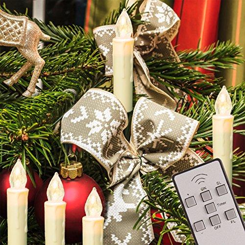 TRESKO® 20er LED Kerzen flammenlose Weihnachtskerzen Kerzenlichter Outdoor und Indoor, kabellos, wasserdicht IP46, Fernbedienung + Timer, dimmbar, Kerzenlichter, Lichterkette, Weihnachtsdeko