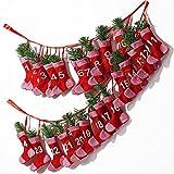 Adventskalender Söckchen zum befüllen ✔ Polyester ✔ befüllbar & wiederverwendbar ✔ Girlandenadventskalender Weihnachtsdeko Socken Strümpfe Stiefel Deko Weihnachten Kalender