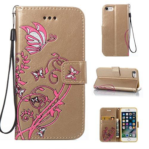EKINHUI Case Cover Color Printing Embossing Blumen Muster PU Leder Brieftasche Case Cover Tasche [Magnetverschluss] mit Card Slots & Lanyard & Halter & Kickstand Für iPhone 7 ( Color : Pink ) Gold