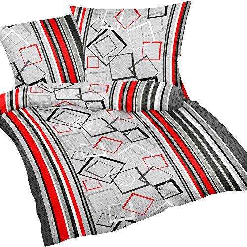 Heubergshop 2 teilige Seersucker Bettwäsche 135x200cm und 80x80cm - Modern gestreift in Rot und Grau - 100% Baumwolle, Bettgarnitur (305/6)