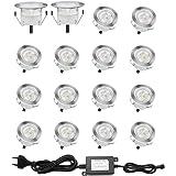 Lot de 16 Spots LED Encastrable pour Terrasse Bois, Etanche IP67, Spots à Encastrer Extérieur, 0,6W DC12V, Lumière Blanc, Kit