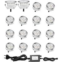 Lot de 16 Spots LED Encastrable pour Terrasse Bois, Etanche IP67, Spots à Encastrer Extérieur, 0,6W DC12V, Lumière Blanc…