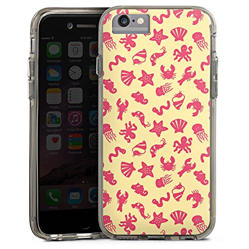 Apple iPhone 6s Plus Bumper Hülle Bumper Case Glitzer Hülle Tiere See Meerestiere Pattern Muster Bumper Case transparent grau