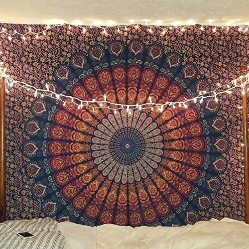 Wandbehang, Stil indisch / Hippie / Boho / psychedelisch, Pfauen-Mandala, goldfarben, Doppelgröße