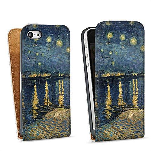 Apple iPhone 5 Housse Étui Silicone Coque Protection Vincent van Gogh Tableau Art Sac Downflip blanc