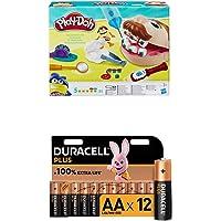Play-Doh – Pate A Modeler Le Dentiste + Piles alcalines AA Duracell Plus, 1,5V LR6 MN1500, Paquet de 12