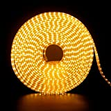 5M LED Streifen Lichtband Warmweiß 5050 SMD 230v IP65 LED Band mit Schalter und Stecker, für den Innen- und Außenbereich Warmweiß