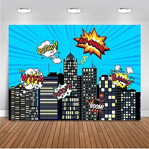 Mehofoto Happy Birthday Backdrop 7x5ft Vinyl Superheld Stadtbild Hochhäuser Foto Kulissen Super Boy Super Girl Geburtstagsfeier Fotografie ()