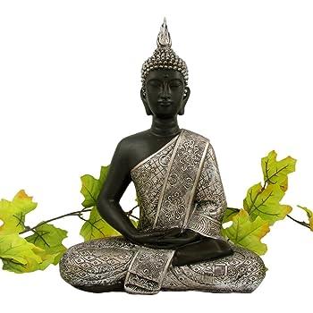 Buddha statue silber dekoration wohnzimmer 30 cm for Wohnzimmer dekoration silber