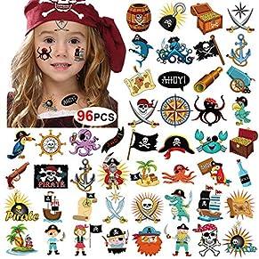 Howaf 96 x Tatuaje Pirata Niños, Pirata Falso Tatuaje Temporal Pegatinas para Chicos Niñas niños Pirata Juegos Infantiles Fiesta de cumpleaños Regalo piñata, Artículos de Fiesta Pirata cumpleaños