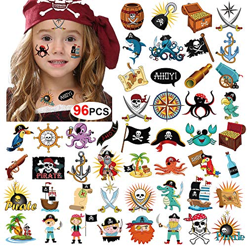 Howaf 96 x Piraten Tattoo Set Kindertattoos Piraten temporäre Tattoo Aufkleber for Kinder Party Mitgebsel Kindergeburtstag geschenktüten Kinder Spielen Piraten Party zubehör