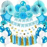 Yansion Fiesta de cumpleaños Decorada para niño,53 Piezas Cumpleaños Azul Decorada con Ventiladores de Papel Globos Borlas de Papel Tissue Pompoms Estrella Guirnalda y Happy Birthday Banderines
