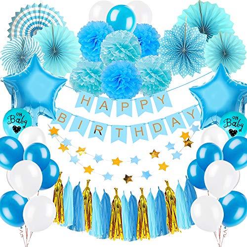 Yansion Geburtstagsdeko Dekorations für Jungs,53 stück Junge Blau Geburtstag Party Dekoration mit Papierfächer Ballons Papier Quasten Tissue Pompons Sterngirlande und Happy Birthday Banner