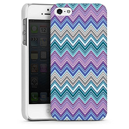 Apple iPhone 5 Housse étui coque protection Zigzag couleurs Motif mode CasDur blanc
