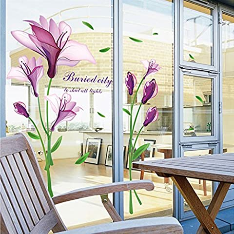 GU LIANG Viola Magnolia Adesivi Per Finestra