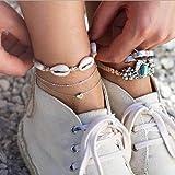 Simsly Beach - Cavigliera in argento a 3 strati, con cuore e corda, regolabile, per donne e ragazze
