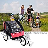 Acecoree 2 in 1 Baby Kinder Fahrradanhänger Faltbare Kinderanhänger Cargo Utility Gepäck Bike Trailer Kit Lastenanhänger Kinderwagen
