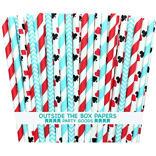 rs Alice in Wonderland Theme Stripe and Card Design Paper Drinking Straws 7.75 inches 100 Pack Red, White, Light Blue, Black ()